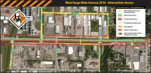 West Fargo Main Avenue intersection access map