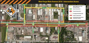 Current work zone and intersection access map for south side of Main Avenue in West Fargo