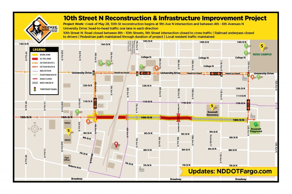 10th Street N Work Zone Map