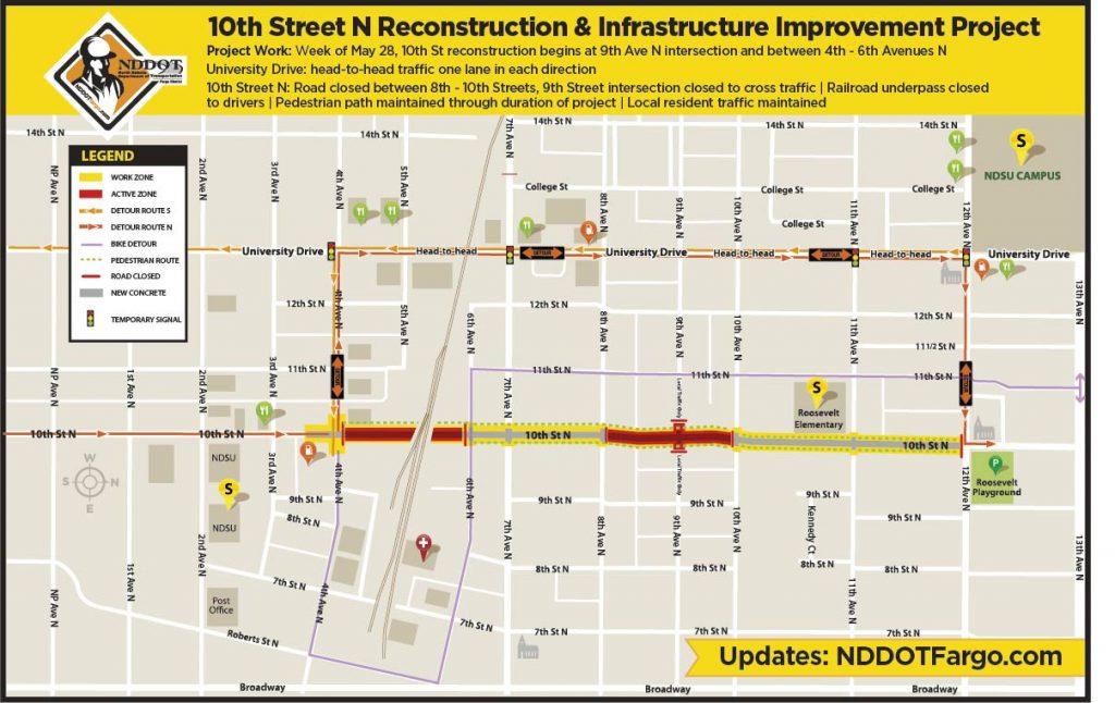 NDDOT Work Zone Map in North Fargo