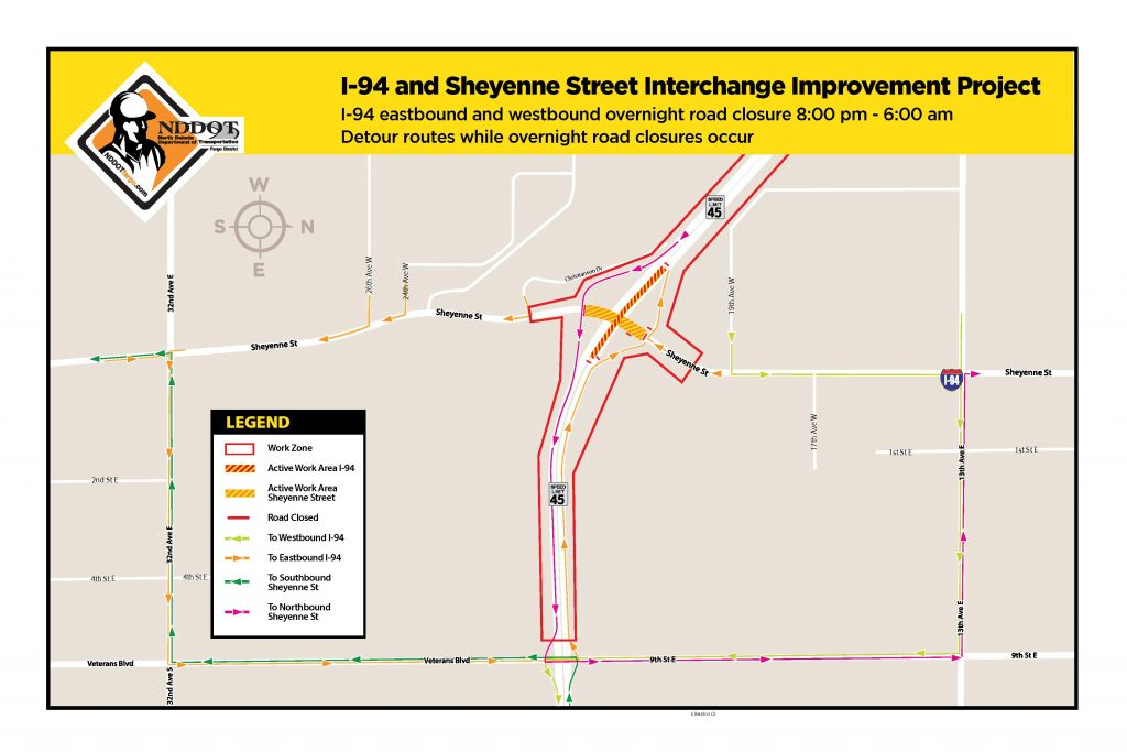 Sheyenne Street and I-94 Interchange Project Update Map