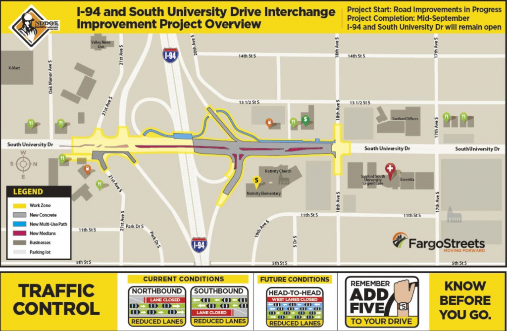NDDOT South University Drive Work Zone Map
