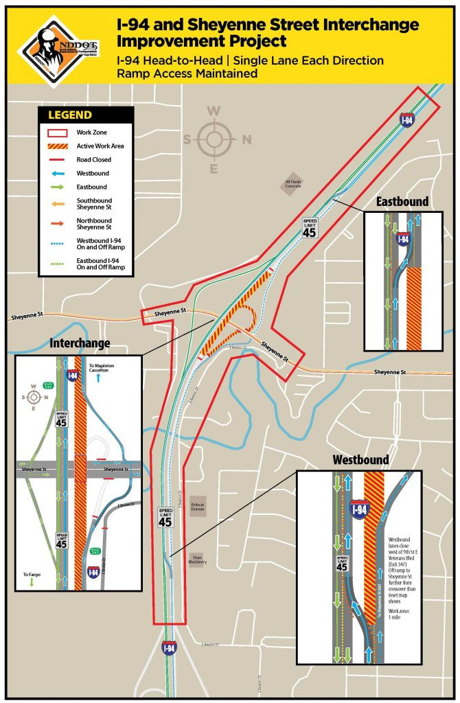 I-94 and Sheyenne Street Work Zone Map