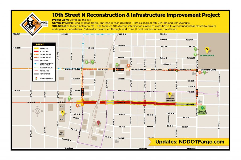 10th Street North Work Zone Map