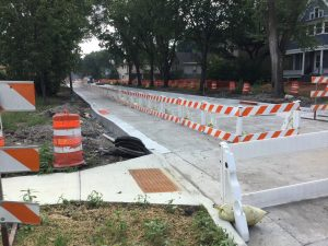 On-street sidewalks in 10th Street North work zone