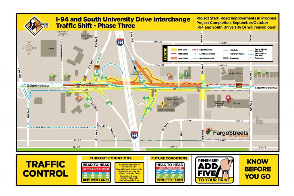South University Drive and I-94 Interchange Work Zone Map