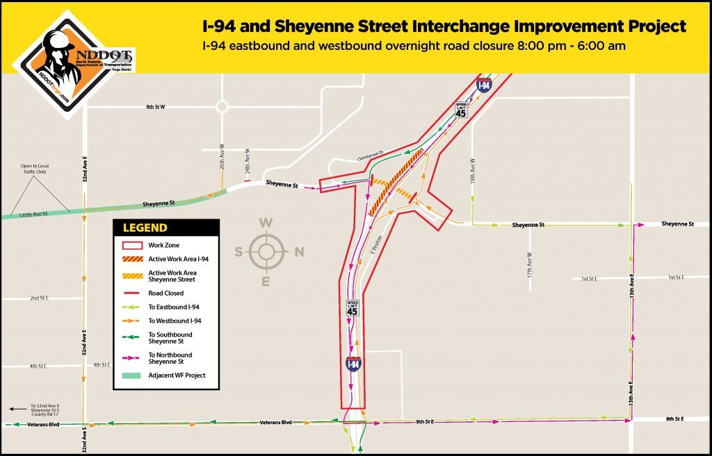 Overnight Sheyenne Street Closure Detour Map