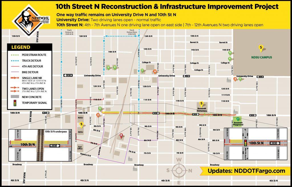 10th St N Traffic Control map