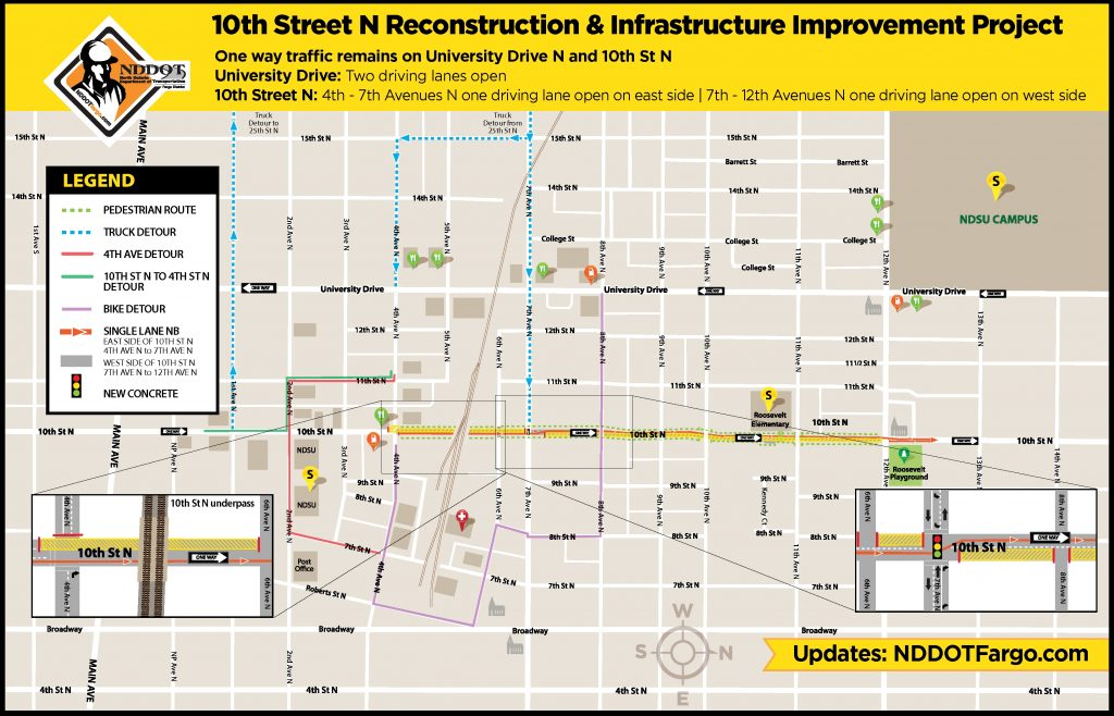 10th St N Traffic Control: single northbound driving lane between 4th-12th Ave N