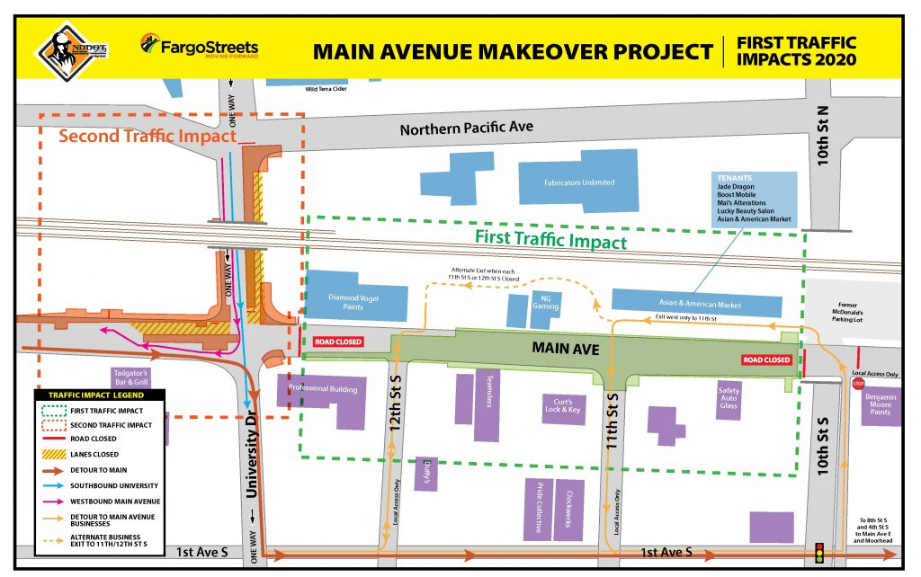 Second Traffic Impacts: Reduced lanes throughout the University Drive and Main Avenue intersection